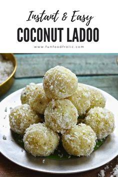 Jamun Recipe, Burfi Recipe, Chaat Recipe, Laddoo Recipe, Coconut Ladoo Recipe, Coconut Recipes Indian, Indian Dessert Recipes, Easy Indian Sweet Recipes, Indian Sweets