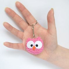 These cute owl keyrings are ready to ship. They are approximately 5cm wide and 4cm tall. The owls are made of cotton and polycotton yarn. The eyes are made of white felt and 5mm safety eyes.    Shipping Shipping cost includes packing and postage expenses. I ship within 1-2 days of