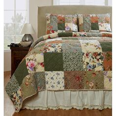 Makeover your bedroom into a cozy spot to snuggle down with this three-piece quilt set. The colorful patchwork pattern gives this lovely set a homespun feel, and the quilt and shams are made of soft, 100 percent, machine-washable cotton.