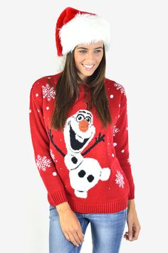 Red Olaf Snowman Christmas Jumper
