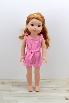 "14.5"" Romper for Wellie Wishers and Hearts for Heart Girl Dolls. Made with closure in back to avoid untying the shoulders. Little Doll Closet (LDC Products)"