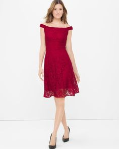 """The one dress that flatters all body types: the fit-and-flare. With its lush lace overlay and flirty off-the-shoulder neckline, you've got yourself a new party dress.  Red off-the-shoulder lace fit-and-flare dress  Elasticized shoulder straps Triple waist-defining details Invisible back zip with hook-and-eye closure Lined Approx. 39"""" from shoulder; hits at the knee Nylon/rayon/polyester/spandex. Machine wash cold. Imported"""