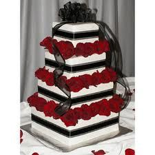 Stacked boxes of roses cake