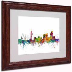 Trademark Fine Art Portsmouth England Skyline II Canvas Art by Michael Tompsett, Wood Frame, Size: 11 x 14, Multicolor
