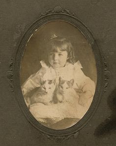 A young girl seated with her two cats.