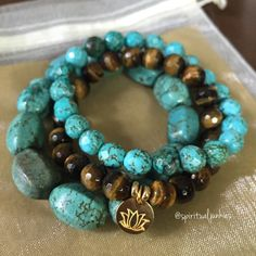 Gorgeous new Tigers Eye, Magnesite + Hill Tribe Lotus stack!