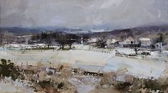 Frosted Countryside by Tibor Nagy Oil ~ 10 x 18