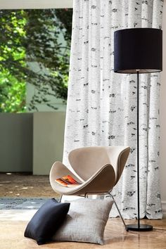 A winter white, soft linen yarn with a mid weight weave. This linen fabric features an iconic New Zealand design. Ivory Curtains, Window Coverings, Winter White, Home Collections, Linen Fabric, Printing On Fabric, Family Room, Dining Chairs