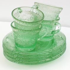 Green Depression Glass, Depression Glass, Green Glass Plates and Cups