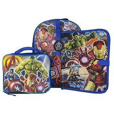 Fast Forward Large Backpack with Lunch Kit and Binder Marvel Avengers Kids Backpacks, School Backpacks, Marvel Avengers, Avengers Movies, Small Leather Goods, Toddler Gifts, Kids Bags, Vera Bradley Backpack, Binder