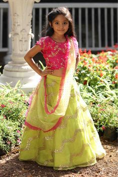 Dress up your little diva in a plush Silk .The bright Green,Pink colour of the Lehenga Choli looks charming and pretty. This Lehenga Choli will make your dear little angel look adorable for any spe. Girls Dresses Sewing, Gowns For Girls, Kids Outfits Girls, Dresses Kids Girl, Girls Fashion Clothes, Baby Dresses, Kids Clothing, Kids Girls, Kids Fashion