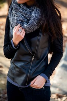 Woman's Fashion Black Asymmetrical Leather Jacket with Gray Circle Scarf