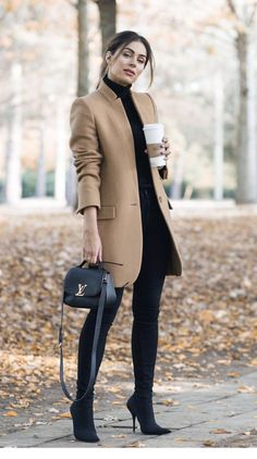 office outfit inspiration / nude coat top bag skinnies over knee boots Fashion Mode, Look Fashion, Womens Fashion, Fashion Outfits, Swag Fashion, Feminine Fashion, Fall Winter Outfits, Autumn Winter Fashion, Spring Outfits