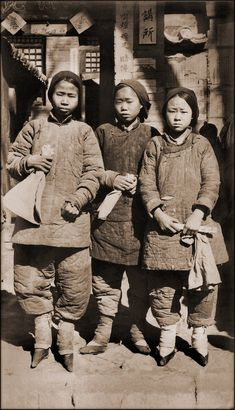 Foot Bound Girls, Liao Chow, Shansi, China [c1930] IE Oberholtzer (Probable) [RESTORED] by ralphrepo, via Flickr
