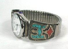 Native American vintage watch peyote bird chip inlay turquoise ...