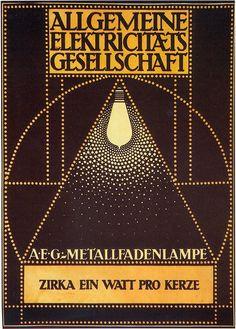 """""""AEG"""" Poster by Peter Behrens (1907) http://abdulazizfarache.blogspot.com.es/2011/03/art-nouveau-peter-behrens-and-corporate.html"""