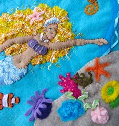 Mermaid Felt Embroidery Art Piece