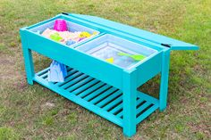 Learn how to make a fun, sensory DIY sand and water table for your kids! Free building plans and tutorial by Jen Woodhouse for BuildSomething.com.
