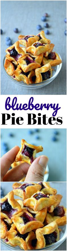 "Blueberry Pie Bites are great when you want ""just a bite""! They make excellent ice cream topping! Blueberry Pie Bites are great when you want ""just a bite""! They make excellent ice cream topping! Mini Desserts, Just Desserts, Delicious Desserts, Yummy Food, Summer Desserts, Christmas Desserts, Summer Snacks, Baking Desserts, Bite Sized Desserts"