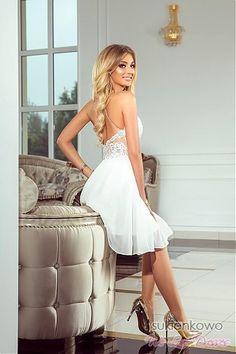 CYNTIA - Luksusowa sukienka z gipiurą biała PREMIUM Talia, Model, Pattern, Mockup