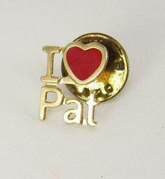 Vintage Red Heart Enamel Pin Back I Love Pat by NeatstuffAntiques, $15.00