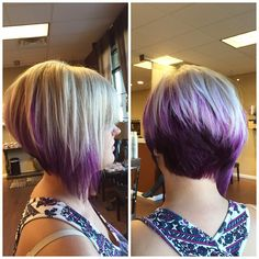 Edgy asymmetrical, inverted-bob complimented by this amazing color icy blonde roots + highlights , pastel purple highlights an a deep purple underneath.Icy blonde to purple ombre angled bob haircut. - Hair For Womenbob hairstyles angled are very vers Bob Hairstyles For Thick, Cool Hairstyles, Hairstyles 2018, Daily Hairstyles, Celebrity Hairstyles, Wedding Hairstyles, Purple Hair, Ombre Hair, Purple Ombre