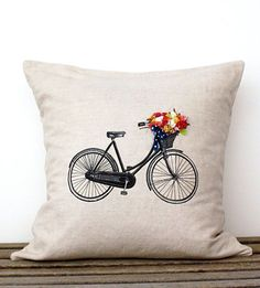 Bicycle Pillow Cover with Hand-Sewn Flowers