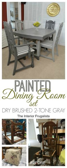 Painted Dining Room Set Dry Brushed Two-Tone Gray. How to bring an old dining room set back to life with mineral paint in two-tone gray with dry brushed dining table top and freshly upholstered dining chair seats. Dining Room Sets, Painted Dining Room Table, Grey Dining Tables, Diy Dining Table, Dining Room Chairs, Kitchen Chairs, Bar Chairs, Kitchen Dining, Painted Table Tops