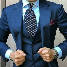 How dapper is this blue suit combo?