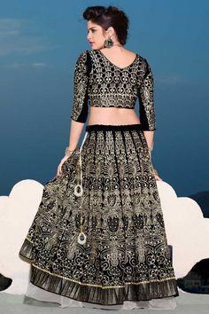Black Velvet #Embroidered Wedding #Lehenga Choli Sku Code:223-5532LL773391 US $ 209.00 http://www.sareez.com/product_info.php?products_id=170735