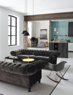 inspiracje w moim mieszkaniu: Pikowana sofa do salonu / Quilted sofa for the liv...