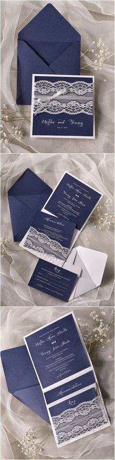 Navy blue Lace Wedding Invitations /4LOVEPolkaDots/