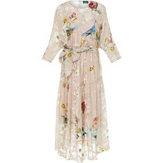 Alena Akhmadullina Batwing Floral Midi Dress (€1.430) ❤ liked on Polyvore featuring dresses, white, white batwing dress, white mid length dress, batwing sleeve dress, white midi dress and batwing dress