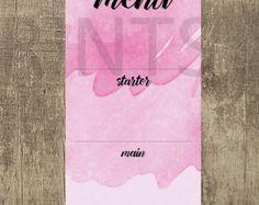 Rose Pink Wedding Menu www.etsy.com/uk/shop/PippinPrints