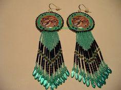 Native American Style rosette beaded Wolf earrings in SeaFoam Green