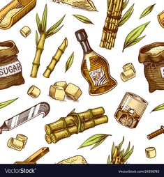 Cane sugar seamless pattern sugarcane plants vector image on VectorStock Plant Drawing, Food Drawing, Sugar Cane Plant, Victorian Candles, Sugarcane Juice, Wooden Plate, Rangoli Kolam Designs, Plant Vector, Pantone