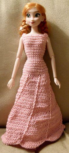 Crochet Patterns Galore - Fashion Doll Swirl Hem Dress