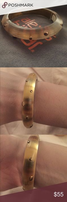 Alexis Bittar gold Lucite bangle w raised dots 💛 Alexis Bittar Lucite gold bangle with raised gold dots 💛. Perfect condition rarely worn. Goes great stacked or alone! All offers considered and I bundle 💛💛💛 Alexis Bittar Jewelry Bracelets