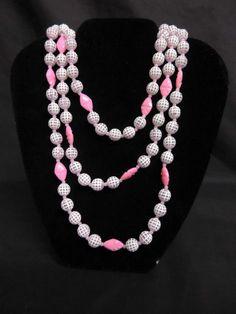 Vintage 60's 70's Pink White Plastic Long Necklace Original Sales Tag Beautiful #Unbranded #VintageNecklace