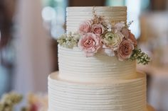 White Textured Wedding Cake with Soft Floral | Vintage Southern Wedding at Magnolia Plantation Carriage House by Charleston Wedding Planner ELM Events