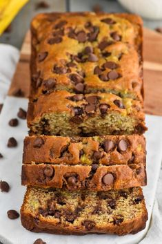 Best Chocolate Chip Banana Bread Recipe Ever. Easy Double Chocolate Banana Bread Recipe - Best Ever . The BEST Banana Bread And This One Has Chocolate Chips! Banana Chocolate Chip Muffins, Chocolate Chip Banana Bread, Chocolate Chip Recipes, Mini Chocolate Chips, Banana Bread Recipes, Best Chocolate, Delicious Chocolate, Breakfast Bread Recipes, Chocolate Lovers