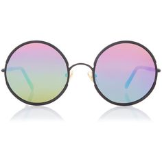 Sunday Somewhere Rainbow Yetti Round Sunglasses found on Polyvore featuring accessories, eyewear, sunglasses, glasses, round frame sunglasses, rounded sunglasses, clear lens sunglasses, rainbow sunglasses and clear lens glasses