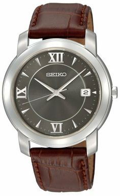 Seiko Men's SGEE99 Strap Charcoal Dial Watch Seiko. $79.99. Buckle. Water-resistant to 99 feet (30 M). Hardlex crystal. Hour, minute and second hand. Stainless steel case, brown leather strap. Save 63% Off!