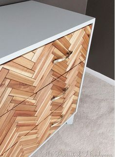 Poppytalk: 10 Awesome IKEA Hacks to Try II Turn IKEA deck tiles into a beautiful herringbone pattern for drawer fronts. Via IKEA Hackers. Ikea Hacks, Ikea Deck Tiles, Furniture Makeover, Diy Furniture, Upcycled Furniture, Do It Yourself Ikea, Ikea Side Table, Ikea Drawers, Diy Chest Of Drawers