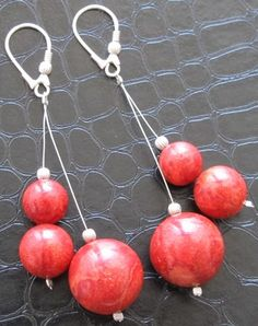 Coral stone earrings crafted in silver http://www.greykajewellery.eu/shop/earrings/coral-stone-earrings/