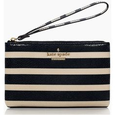 Kate Spade Cedar Street Stripe Bee ($46) ❤ liked on Polyvore featuring bags, handbags, clutches, kate spade clutches, striped handbags, red handbags, red purse and round purse