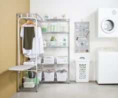 Space for your ironing, cleaning, washed and ironed laundry plus a clever fold down ironing board. Solutions for every space available at Howards Storage World.