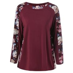 Plus Size Floral Trim Raglan Sleeve T-Shirt ($13) ❤ liked on Polyvore featuring tops, t-shirts, plus size womens tees, purple tee, plus size women's t shirts, purple plus size tops and women's plus size tops