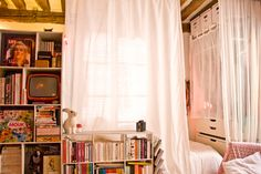 separate bedroom with curtains