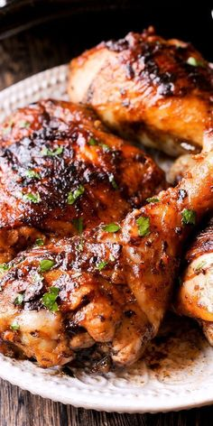 """"""" Pinned to Food and Drink: Marinated Peri Peri Chicken Thighs and Drumsticks dish is an oven baked version of Portuguese flame-grilled PERi-PERi chicken, yet it looks and tastes like grilled chicken! The chicken is marinated in the absolutely delic… Baked Chicken Legs, Baked Chicken Recipes, Pork Recipes, Crockpot Recipes, Cooking Recipes, Grilling Recipes, Grilled Chicken Thighs, Roasted Chicken, Recipes"""